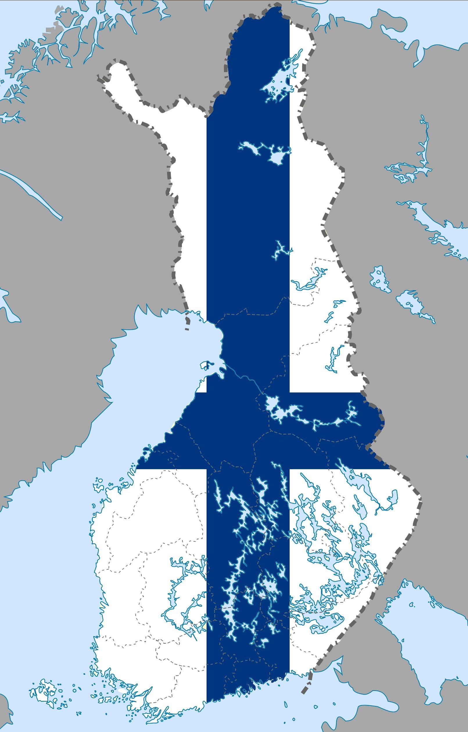 Finlands Flag Kort Finland Kort Flag Det Nordlige Europa