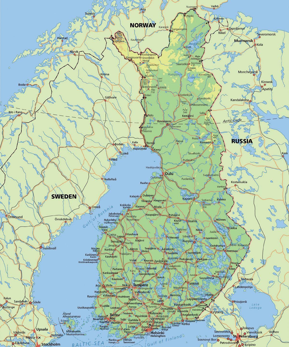 Arctic Circle Finland Kort Kort Over Polarcirklen I Finland I