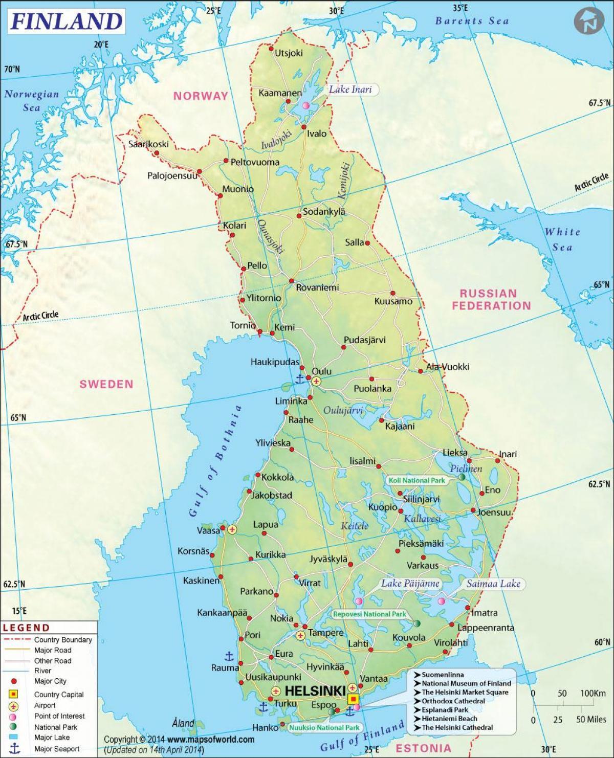 Finland Geografi Kort Kort Over Finland Geografi I Det Nordlige