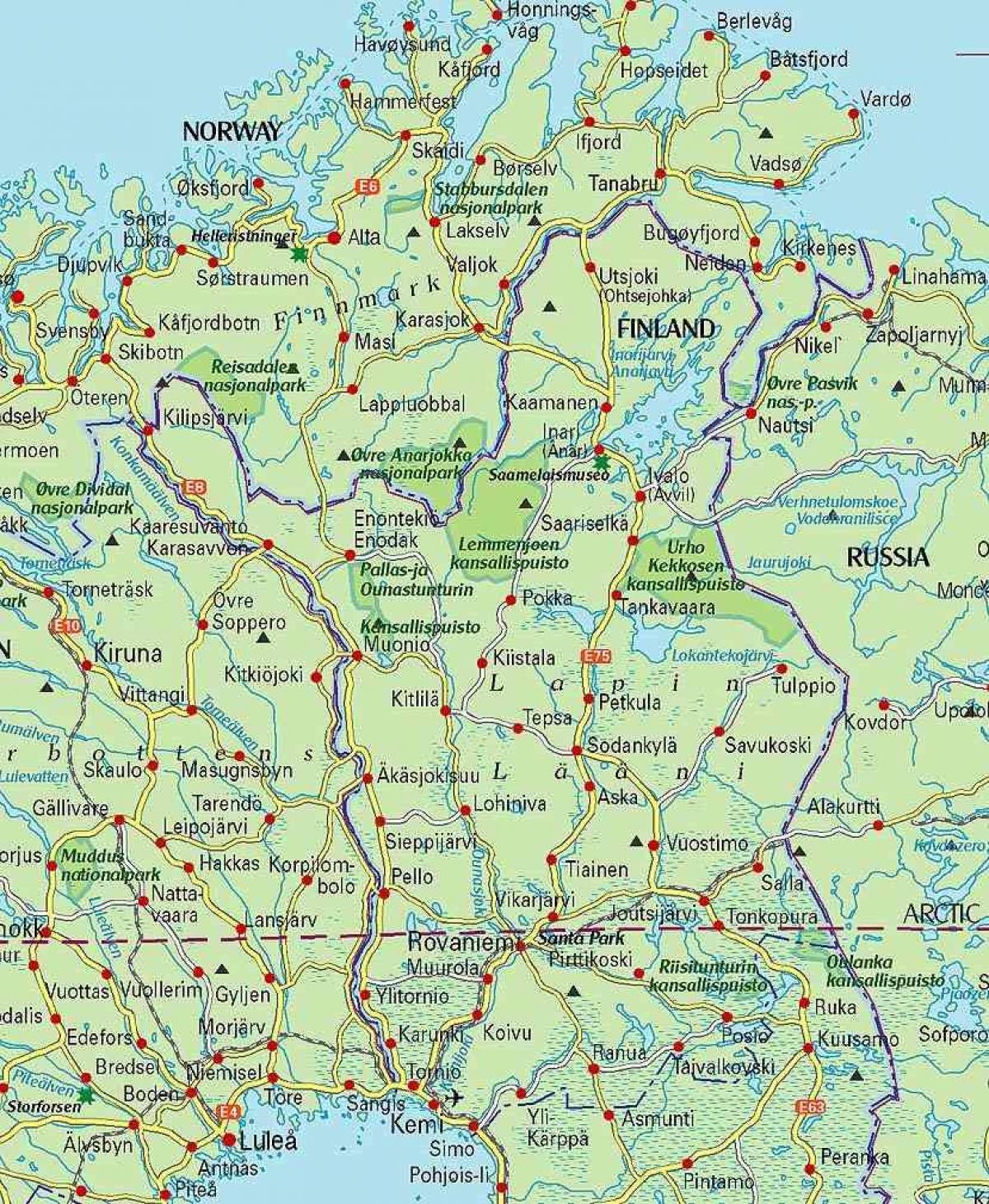 I Lapland Finland Kort Kort Over Finland Og Lapland I Det